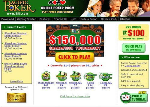 Pacific poker network rooms