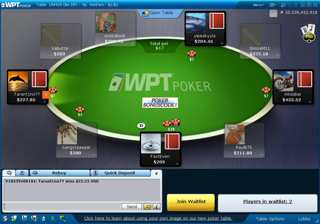 WPT Poker - $100 Sign-Up Bonus - WPTPoker.com